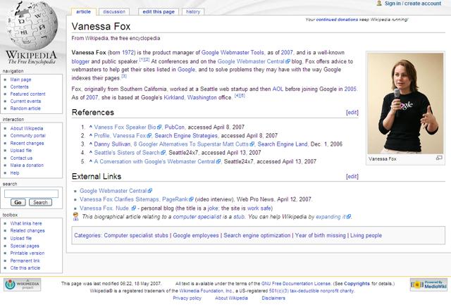 Vanessa Fox on Wikipedia - mil8